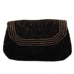 VTG 30s 40s Black Beaded SILK Clutch Evening Bag